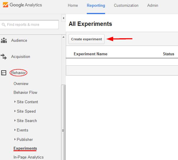 Google Analytics: Create an experiment