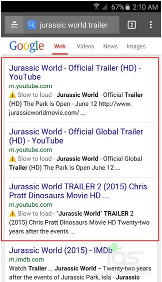 Google slow to load warning