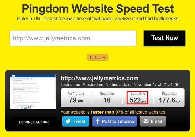 Jellymetrics Pingdom Speed Test
