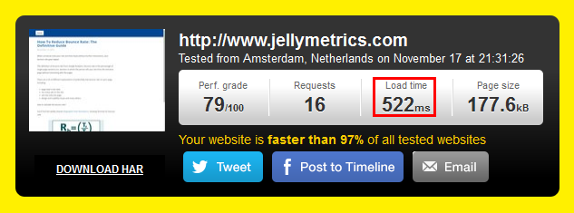 Jellymetrics Pingdom Results