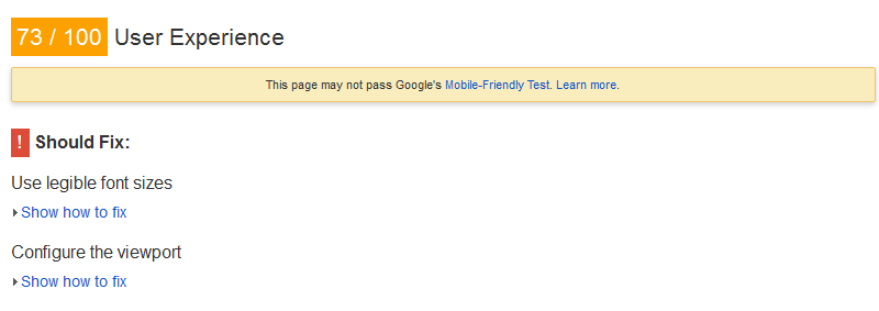 Google PageSpeed Insights User Experience Problems