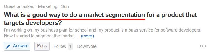 A good way to do a market segmentation