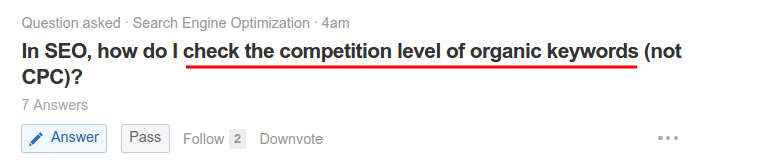 Check the competition level of organic keywords