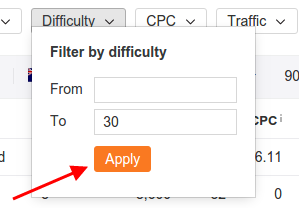 Filter by keyword difficulty