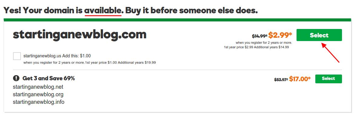 Godaddy: Domain Available