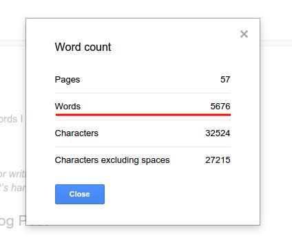 Google Docs: Writing Count