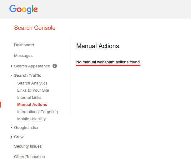 Google Search Console: Manual Actions