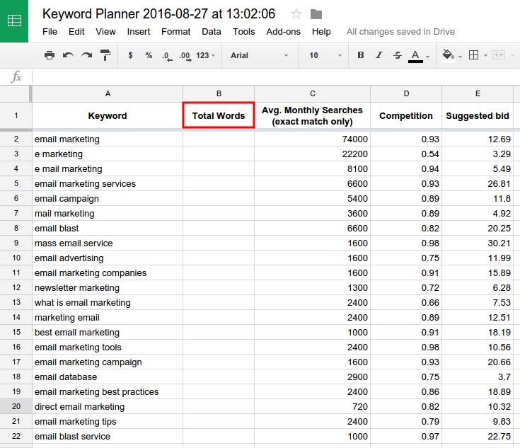 Long-Tail Keywords in Google Sheets