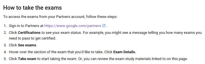 How to take Google exams