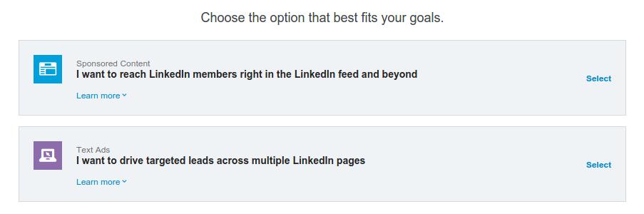 Linkedn Choose Option Goals