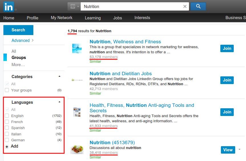 LinkedIn: Nutrition Groups