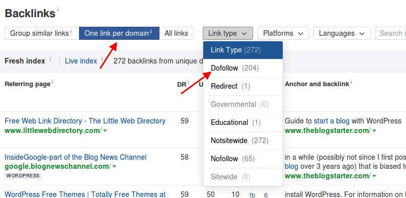 Ahrefs Backlinks Filter