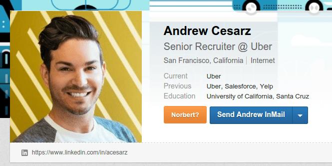 Andrew Cesarz, Senior Recruitet at Uber