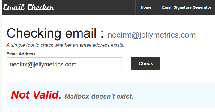 Email Checker Not Valid