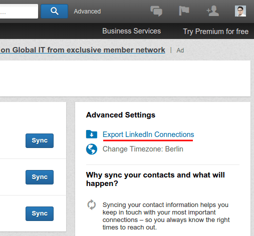 Export LinkedIn Connections
