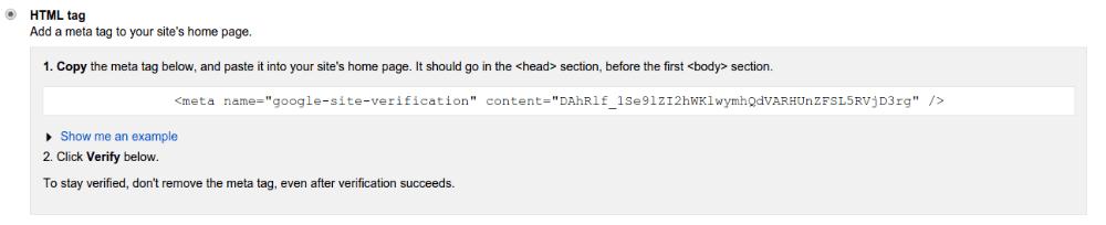 Google meta tag