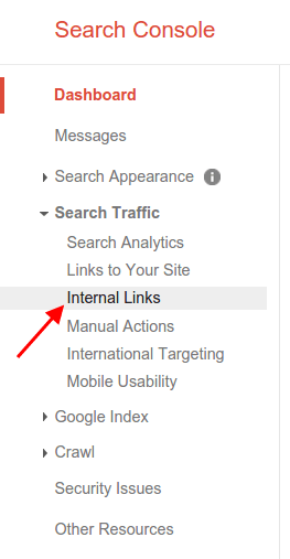 Internal links in Google Search Console