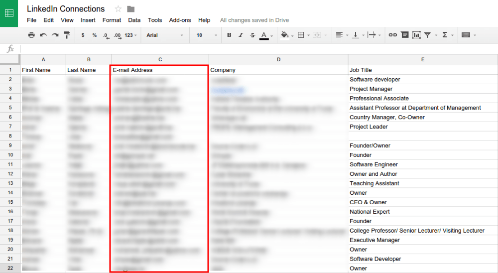 LinkedIn Connections in Google Sheets