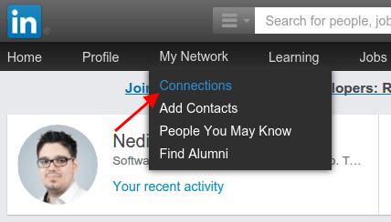 LinkedIn Menu Connections