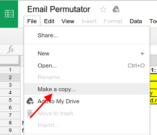 Make a copy in Google Sheets