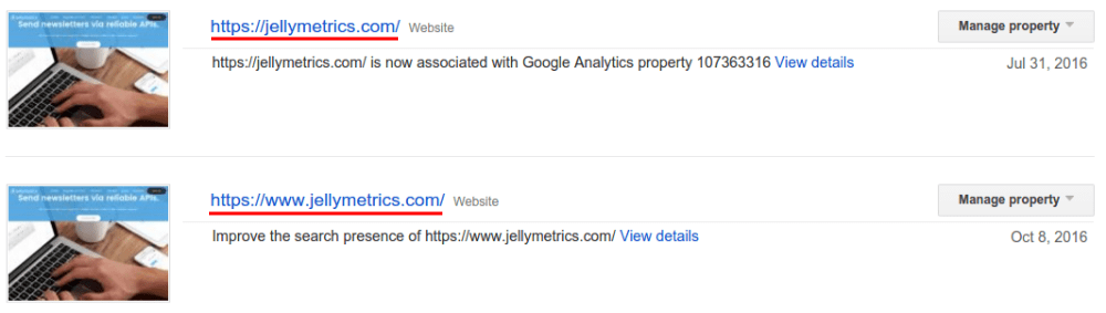 Properties in Google Search Console