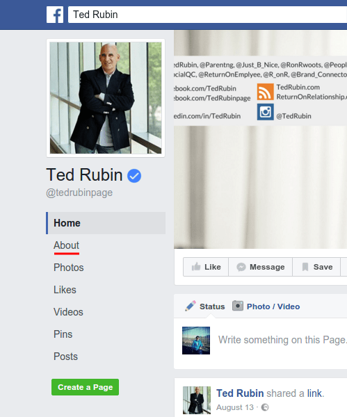 Ted Rubin Facebook page