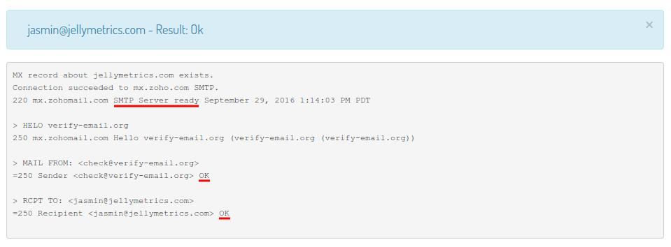 Verify Email OK Results