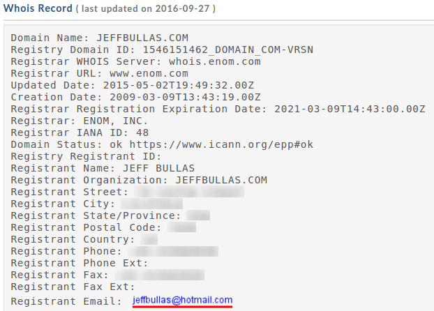 WHOIS record for jeffbullas.com