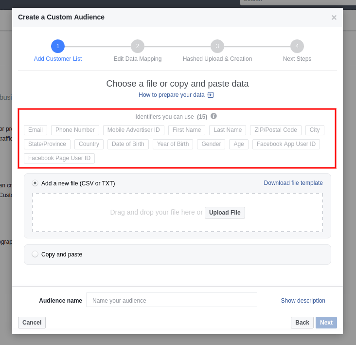Choose a file or copy and paste data