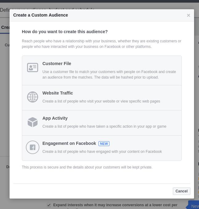 Create a custom audiene