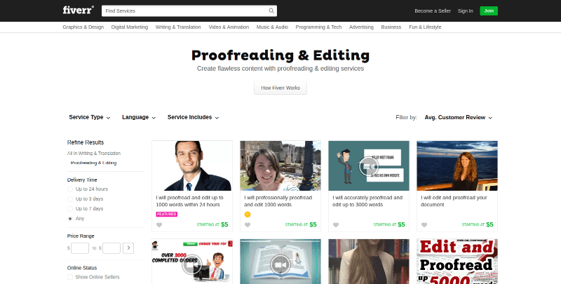 Proofreading at Fiverr