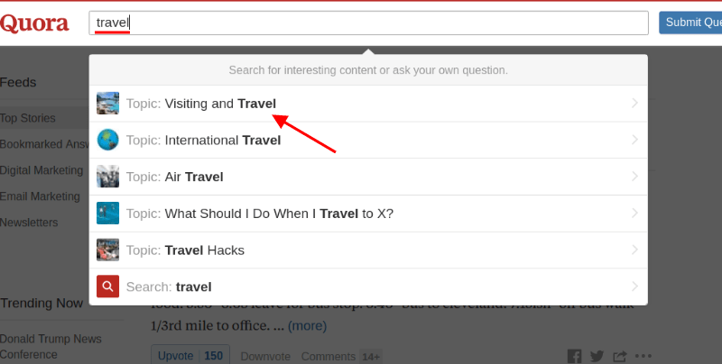 Quora: Search for travel