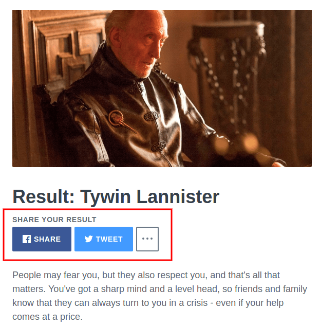 Results: Tywin Lannister