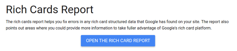 Rich Cards Report: Google Support Help