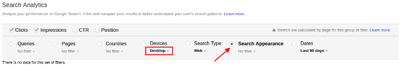 Search Analytics on Desktop: Grouped by Rich Results