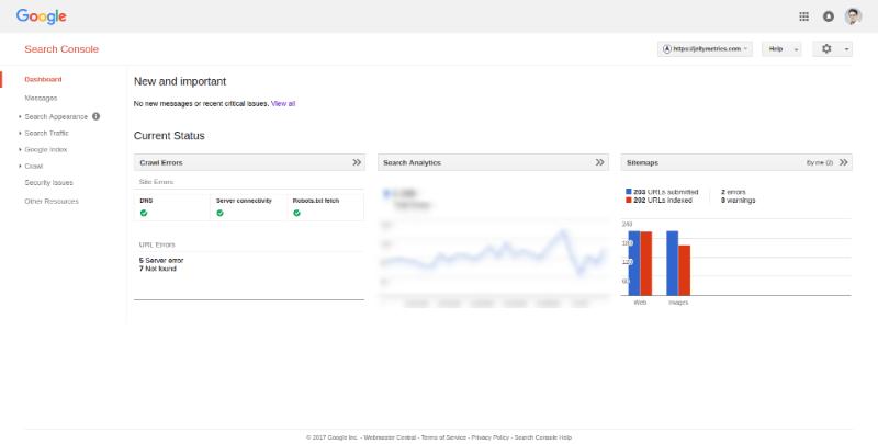 Google Search Console Dashboard