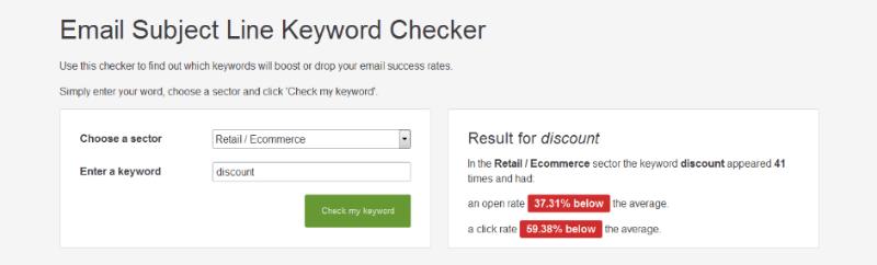 Subject line checker discount