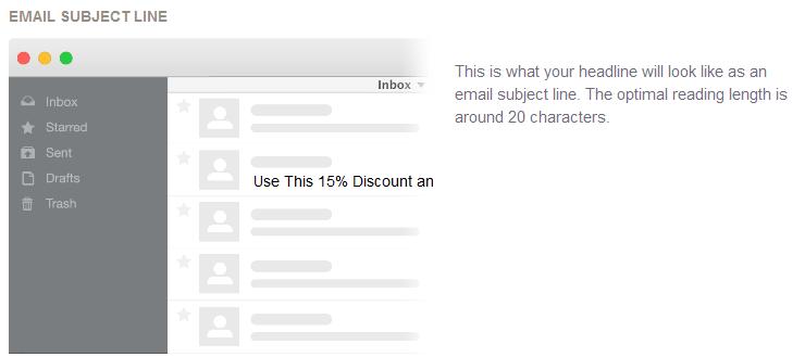 Subject line in inbox