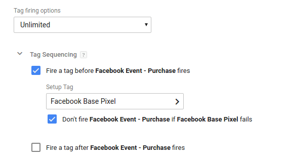 Tag Firing Options: Advanced