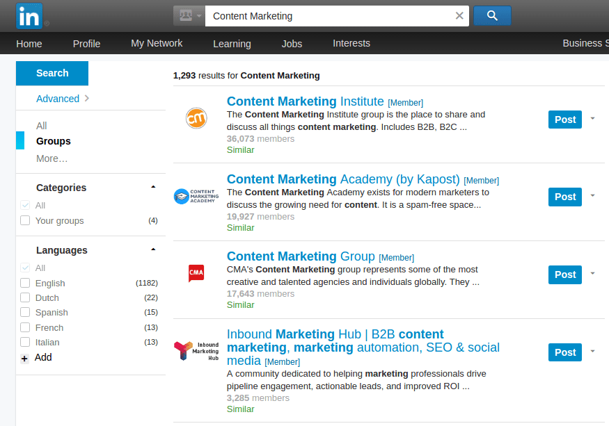 Content marketing groups on Linkedin