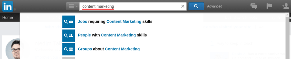 Content marketing Linkedin search