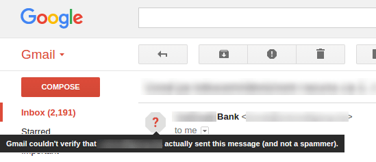 Gmail couldn't verify sent message