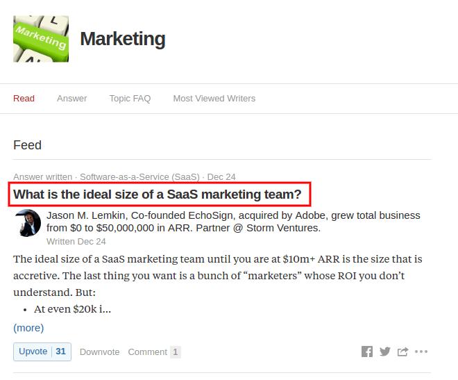 Marketing feed on Quora