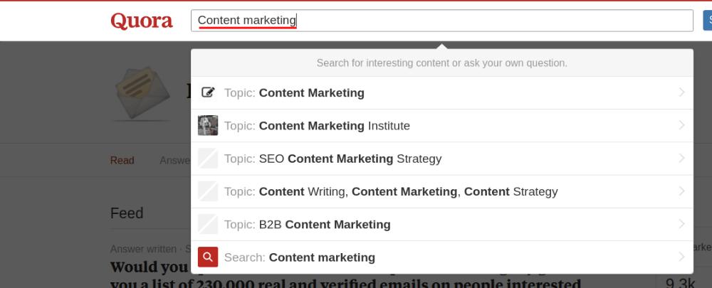 Quora: Content Marketing Topic