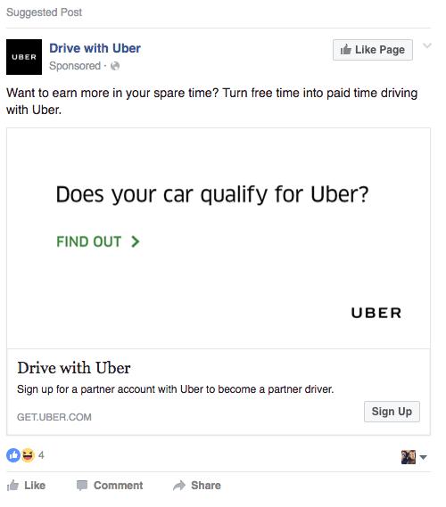 Uber lead generation ad