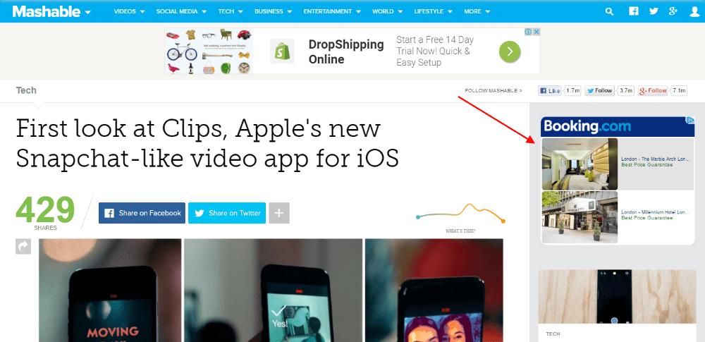 Remarketing on Mashable