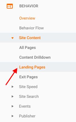 Behaviour - Site Content - Landing Pages