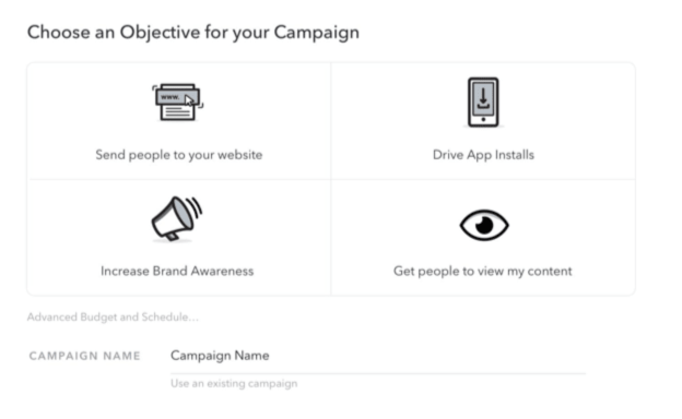 Snapchat: Choose an objective for your campaign