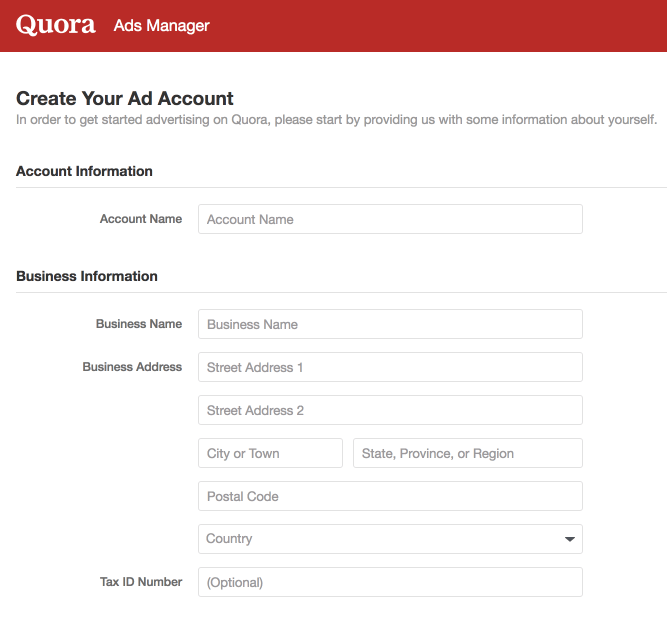 Create your ad account on Quora