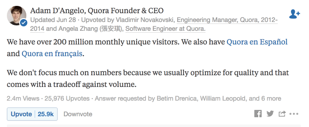 How many people use Quora?
